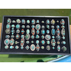 Kyпить E Wholesale Lot of 50 Gram Of Turquoise Sterling Silver 925 Rings Resale Bulk на еВаy.соm