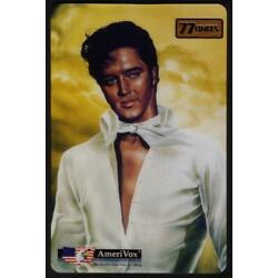 Kyпить 77u 'Heavenly' Elvis (White Outfit With Gold Background) JUMBO USED Phone Card на еВаy.соm