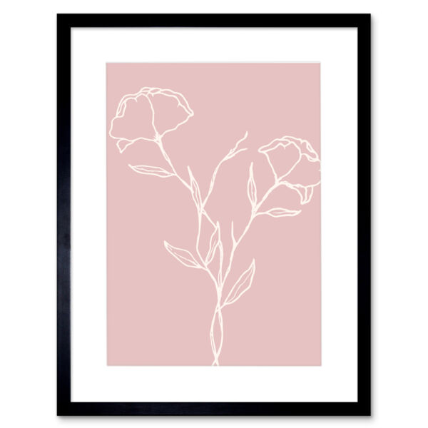 Royaume-UniBlush Pink Plant Flower Poppies White Framed Wall Art Print 12X16 In