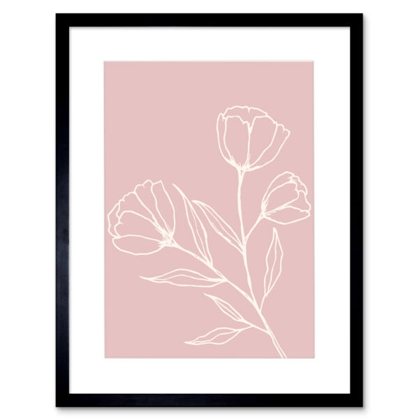 Royaume-UniBlush Pink Plant Poppy Flowers White Framed Wall Art Print 12X16 In