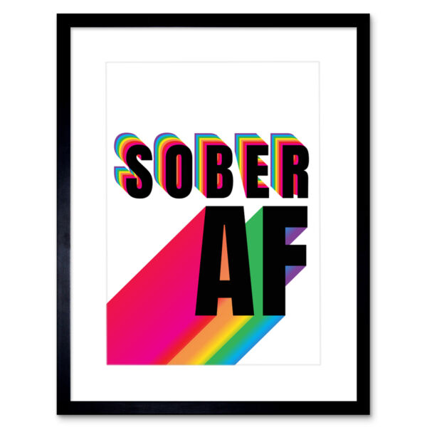 Royaume-UniSober AF Rainbow Typography White Framed Wall Art Print 12X16 In