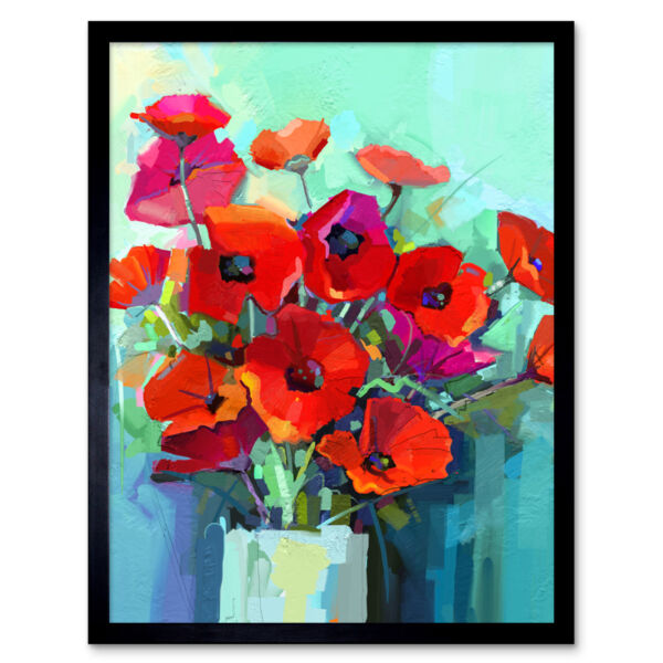Royaume-UniFlowers Red Bouquet Vase 12X16 Inch Framed Art Print