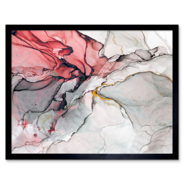 Royaume-UniAbstract Swirl Paint Grey And Pink 12X16 Inch Framed Art Print