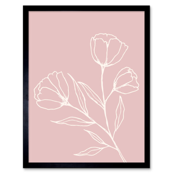 Royaume-UniBlush Pink Plant Poppy Flowers White Wall Art Print Framed 12x16