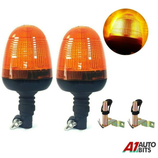 Royaume-UniDeux Clignotant Warning Ambre Lumières LED & Support Tractor  Véhicule