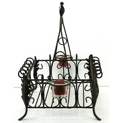 Acanthus Metal Basket w/ Handle and Votive Candle Holders Tabletop Display