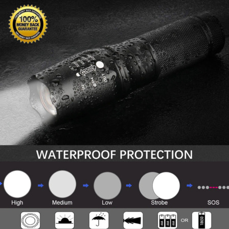 img-LED Cree Torch Rechargeable Flashlight Police Tactical Zoom Camping Lamp 18650