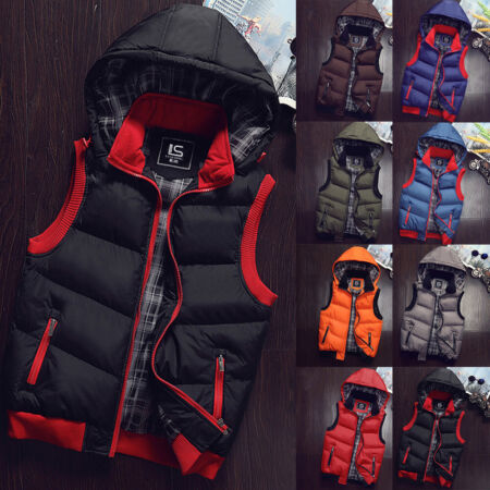 img-Men's Winter Quilted Vest Body Warmer Hooded Padded Parka Jacket Coat Outwear