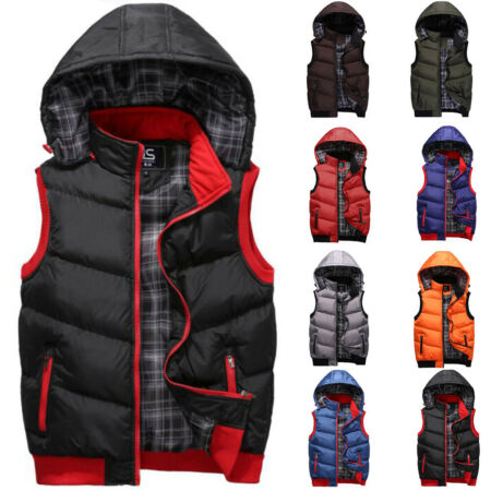 img-Mens Padded Quilted Vest Coat Bodywarmer Hooded Winter Jacket Gilet Outwear UK