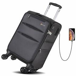 Kyпить REYLEO Softside Spinner Luggage 20 Inch Carry On Luggage 8-Wheel Travel Suitcase на еВаy.соm