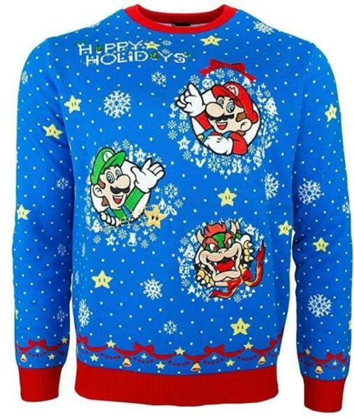 Royaume-UniOfficiel Numskull  Super Mario Noël Pull - Taille M/US S NEUF