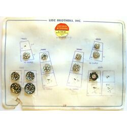 Kyпить Salesman Card of 12 Vintage Metal Buttons LIDZ BROTHERS, INC. Rhinestones на еВаy.соm