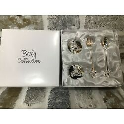 Kyпить  Baby Collection Silver Plated Fork, Spoon, First Tooth & Curl Box Gift Set-NEW! на еВаy.соm
