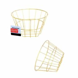 4pk Gold Wire Metal Round Basket Office Kitchen Plant Display Storage Containers