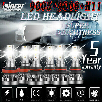 9005 9006 H11 Combo COB LED Headlight Fog Lamp Bulb High Low Beam 6500K White