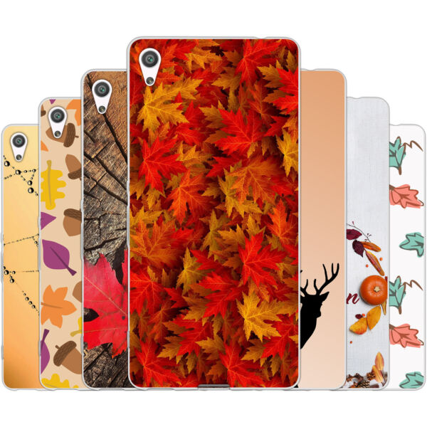 AllemagneDessana Autumn Pattern TPU Silicone Protective Case Pouch Cover For sony