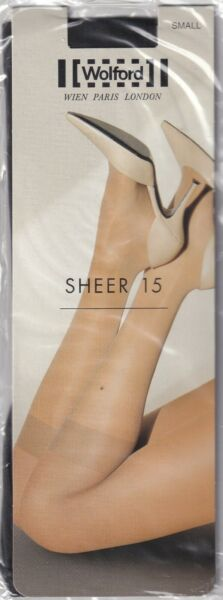 Paris,FranceMi-bas WOLFORD SHEER 15  Nearly Black. Taille S. Knee-highs.