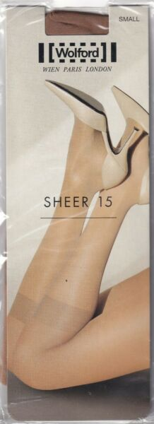 Paris,FranceMi-bas WOLFORD SHEER 15  Caramel. Taille S. Knee-highs.