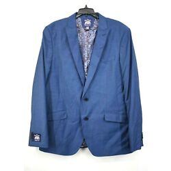 The Savile Row Company Mens Navy Blue Suit Jacket Lined Stretch Pockets 44L