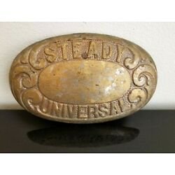 Kyпить Antique Metal Plate, Gold plated, Steady Universal, Machine Parts, Signs на еВаy.соm