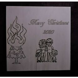 Kyпить Silly Christmas 2020 Wood Burn 12 x 12 inches на еВаy.соm