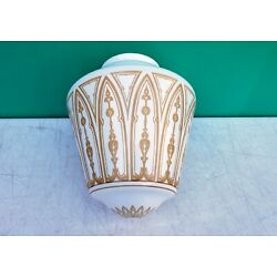 Kyпить Antique Neo Classical Gold Tracery Milk Glass Light Fixture Pendant Shade globe  на еВаy.соm