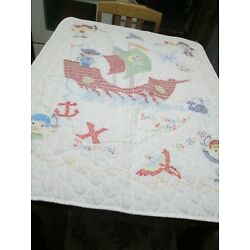 Kyпить Hand Embroidered Pirates and Boat Crib Blanket 41