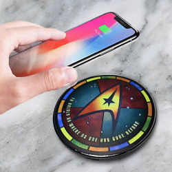 Star Trek Qi Wireless Charger With Illuminated Stained-glass Delta 2A or 1A USB