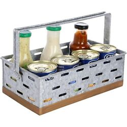 MyGift Galvanized Silver Metal Storage Basket with Handle and Copper Tone Rim