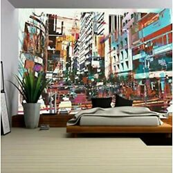 Large Wall Mural - Contemporary Abstract Cityscape - Self-Adhesive - Gorgeous
