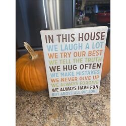 IN THIS HOUSE.........WE DO LOVE FUN FAMILY WALL ART CANVAS 9X7