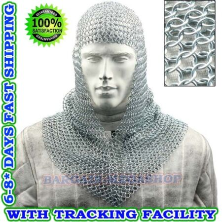 img-Medieval Knights Functional Butted Chain Mail V NECK Hooded Scarf Coif
