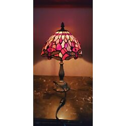 Kyпить Tiffany Style Vintage Butterfly Stained Glass Table Lamp Brass Base 15