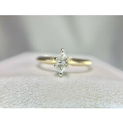 Kyпить Vintage 14k Yellow Gold Marquise Cut Diamond Solitaire Engagement Ring 1/5 ct на еВаy.соm