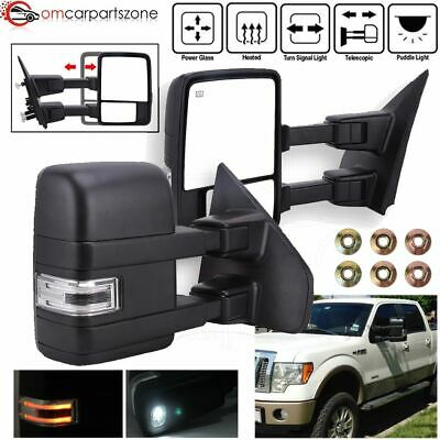 Towing Mirrors Pair For 07-2014 Ford F150 Power Heated Puddle Light Turn Signal