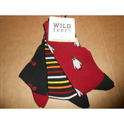 Wild Feet from Sock Shop cotton rich 3 Pack Mens Socks Size 7-11 Eur 40-46