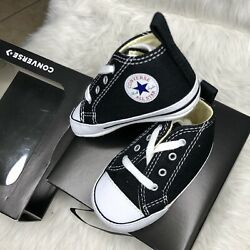 CONVERSE NEWBORN CRIB BOOTIES BLACK 8J231 FIRST ALL STAR BABY SHOES SIZE 2