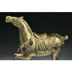Kyпить Chinese Silvered Horse Figure Statue with Hardstones Cloisonne on Wood Stand на еВаy.соm