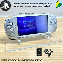 Kyпить Sony PSP 2000 PlayStation SLIM Portable Metal Silver Refurbished Custom Firmware на еВаy.соm