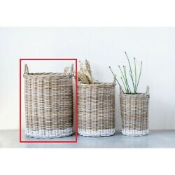 Large Dipped White Natural Rattan Basket w/ Handles!!! NEW!!!