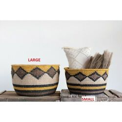 Yellow, Black & Brown, Small Hand-Woven Abaca Basket!!! NEW!!!