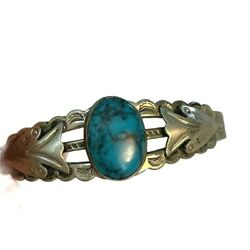 Kyпить Southwest Nickel Silver Turquoise Cuff Bracelet Vintage Bell's Trading Post  на еВаy.соm