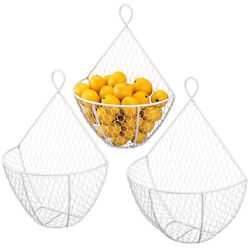 MyGift Set of 3 White Metal Chicken Wire Wall Hanging Produce Storage Baskets