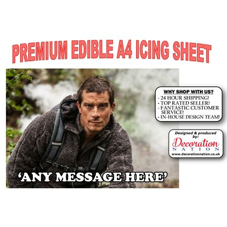 img-Bear Grylls Outdoors PERSONALISED A4 ICING Edible Cake Topper Birthday Explorer