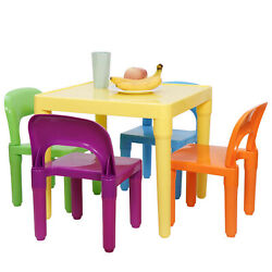 Child Party Toys Activity Furniture Play Set Kids Table and 4 Chairs Toddler