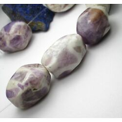 9 LARGE BEAUTIFUL PURPLE/WHITE FACETED AMETHYST VINTAGE STONE BEADS