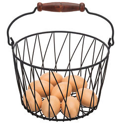 MyGift Matte Black Metal Woven Country Style Egg Storage Basket with Wood Handle