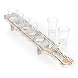 Kyпить  Shot Glasses Serving Tray and Shot Glass Set of 6 - Unique Rustic White Washed на еВаy.соm