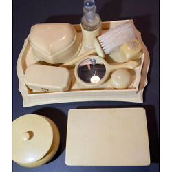Kyпить Vintage French Ivory Celluloid Vanity Set With Many Accessories на еВаy.соm