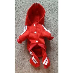 Scheppend Adidog Dog Sweat Suit Sweater Small Red & White Small